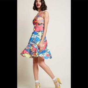 ModCloth Vibrant Graphic Dinosaur Dress